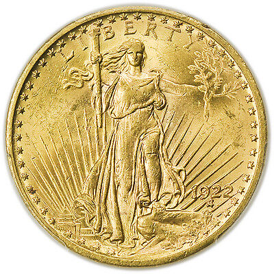 1922 $20 St. Gaudens Gold Double Eagle PCGS MS-63, Nice Coin [3063.45]