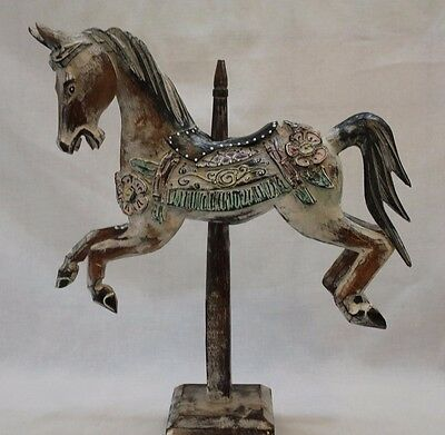 Hand Carved And Painted Carousel Horse With A White Antique Finish #29011-2