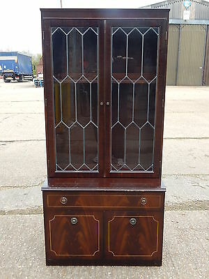 Mahogany reproduction glazed bookcase wall unit display cabinet wth leaded doors