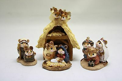 RARE! 4pc Wee Forest Folk Annette Petersen Chris-Mouse Pageant Nativity Scene