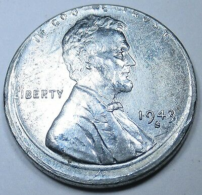 1943-S 5% Off Center Die Crack Cud Mint Error US Lincoln Wheat Penny Steel Cent