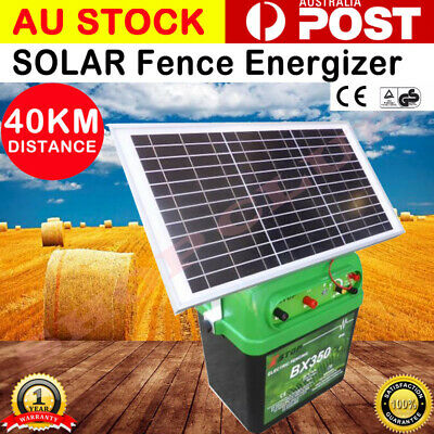 [10%] off 40km 2.5J Solar Power Electric Fence Energizer Charger poly wire tape