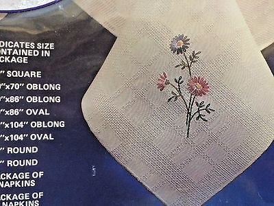 Vtg 60 x 104 Oblong Tobin Stamped Tablecloth Embroidery NIP Pink Blue Daisy