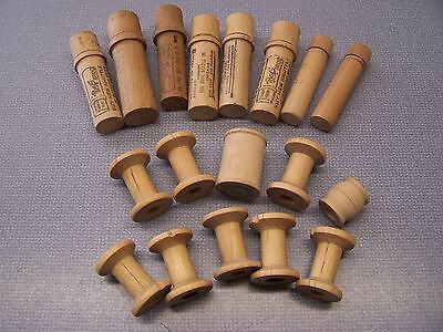 Collection of Old Wooden Sewing Thread Spools and Wood Needle Cases