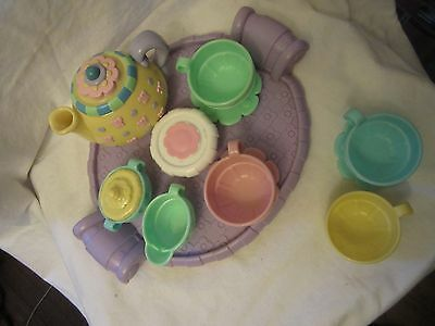 2000 Fisher Price Kids Children's Plastic Pastel Musical Tea Set Dishes