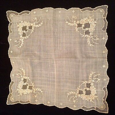 Beautiful Vintage Hand Embroidered Floral Wedding Handkerchief
