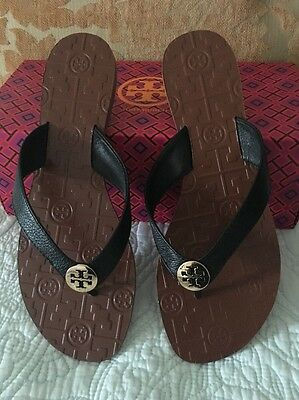 a7feae880503 Sandals TORY BURCH Thora Royal Tan Gold Logo Tumbled Leather Size 8.5 New