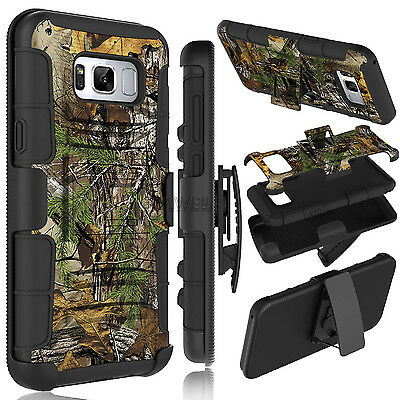 3-in-1 Camo Phone Armor Case With Kickstand Belt Clip Cover For Samsung Galaxy