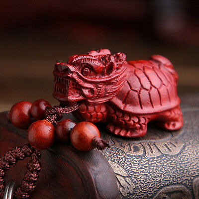 Chinese Red Sandalwood Rose Wood 3D Carving Dragon Turtle Pendant Key Chain