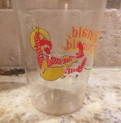 Vintage Ronald McDonald's Transparent Plastic Cup Advertising Happy Meal Toy