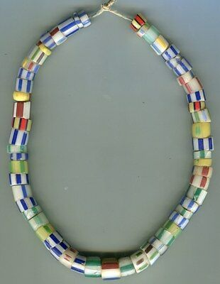 African Trade beads Vintage Venetian glass striped cane drawn beads