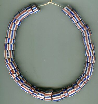 African Trade beads Vintage Venetian glass 5 layer striped chevrons old