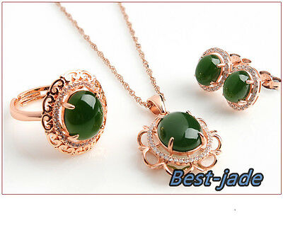 100% Natural Jade Nephrite 925 silver Jewelry Sets For Wedding anniversary ring