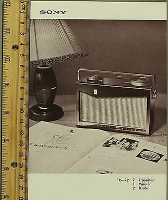 Vintage Sony Totsuko Transistor Radio TR-72 B6 Sales Flyer Specifications