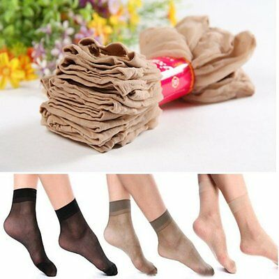 10 Pairs Women Ladies Elastic Nylon Short Sheer Stockings Silk Short Ankle Socks