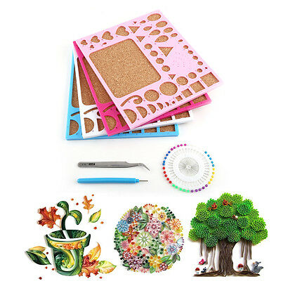 Paper DIY Quilling Tools Template Mould Board + Tweezer +Pins + Slotted Tool Kit