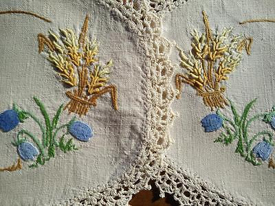2 x Blue Bells and Golden Wheat stacks ~ Raised Hand Embroidered Doilies