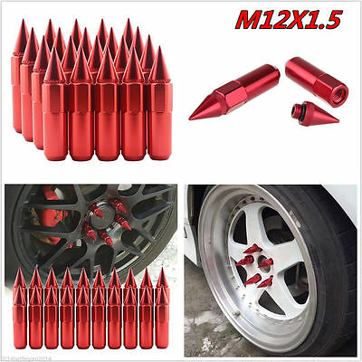 20 Aluminum Spike Tuner Extended Lug Nuts for Wheels Rims M12X1.50 60mm Red