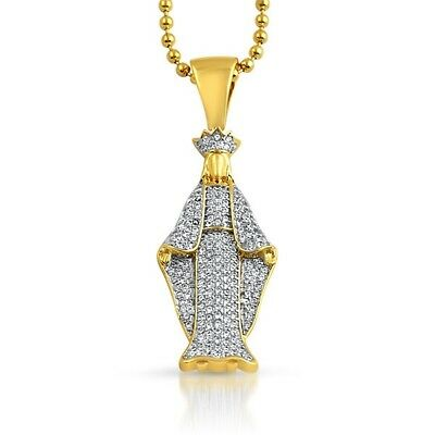 Gold Iced Out Virgin Mary Pendant With Chain Necklace