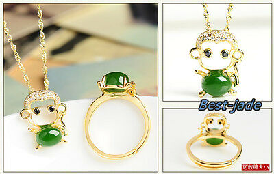 100% Natural Jade Nephrite 925 silver Jewelry Sets For Birthday gift Monkey ring