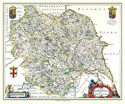 "Johan Blaeu Map of Yorkshire 1648 -  24"" x 16"" Photographic Print"