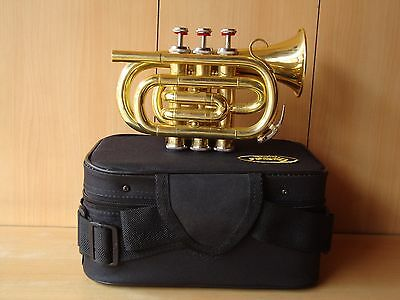 ROCKING OFFER! NEW BRASS FINISH Bb POCKET TRUMPET+FREE HARD CASE+MOUTHPIECE