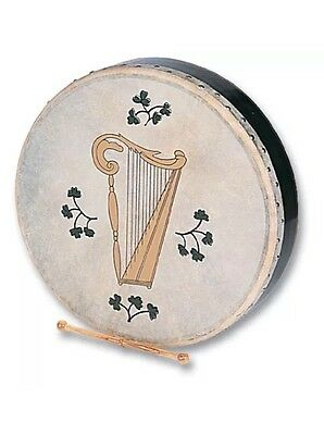 Clearance Sale- NEW-Free P&P UK--Percussion - Irish-H1149 Harp Design Bodhran -