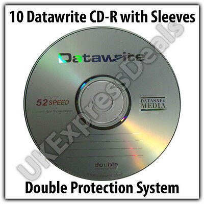 10 Datawrite CD-R 52x 700MB 80mins Blank Media Disc with sleeves
