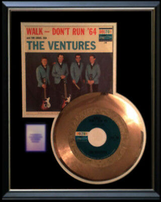The Ventures Walk Don't Run Rare Gold Record Disc & 45 Rpm Sleeve Original !!