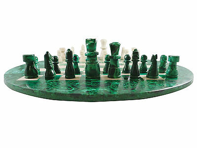 NEW Malachite and Marble Handcarved Chess Set