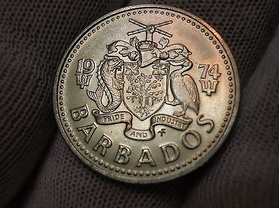 1974 Barbados Matte Proof Quarter Km13 6,280 Mintage