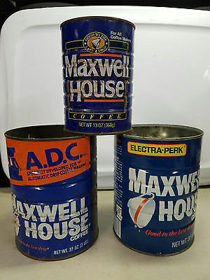 (3) Maxwell House Vintage Coffee Tin Can 32oz and a small.
