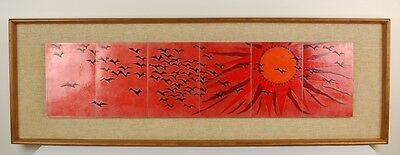 Mid-Century Modern Enameled Copper Wall Plaque Red Sunset with Black Birds