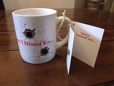 """Vintage Ceramic Mug """"Sorry I Missed You..."""" Bullet Holes New In Box By Applause"""