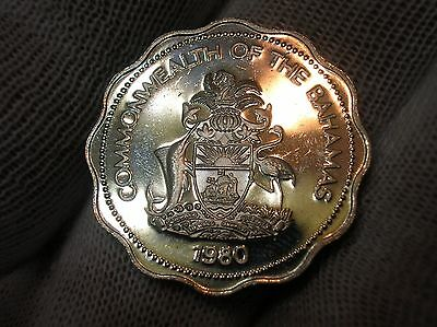 1980 Proof Bahamas Ten Cent Km61 2,084 Mintage
