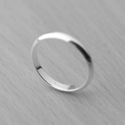 Genuine 925 Sterling Silver Polished Plain Ring Band 3mm Sizes H-Z Wedding Thumb