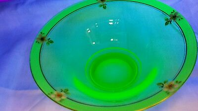Vintage vaseline glass bowl with hand painted flowers. Unusual and very nice