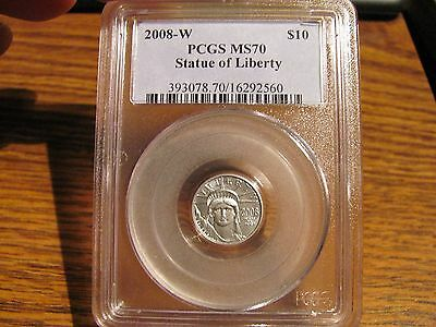 "2008-W $10 BURNISHED PLATINUM EAGLE ""Statue Of Liberty"" PCGS MS70 List=$385"