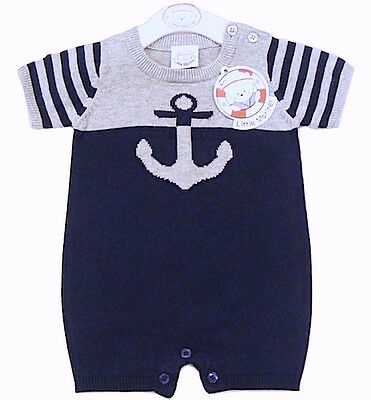 Baby Boys Knitted Cotton Anchor Romper All in One 0-3 3-6 Months