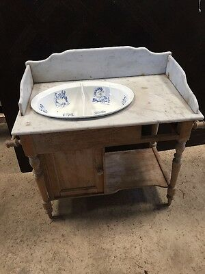 French Antique Elm Child's Wash Stand