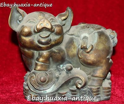 """7"""" Marked Old China Ancient Wealth Money Coin YuanBao Pig Pigs Ruyi Ru Yi Statue"""