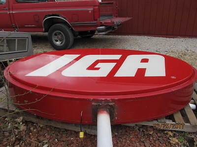 Vintage Original Oval Metal/plastic Iga Grocery Light Up Sign Works!!