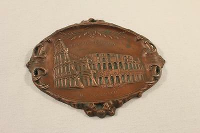 Vintage Souvenir of Italy Copper Stamped Change Tray The Colliseum Rome Italy