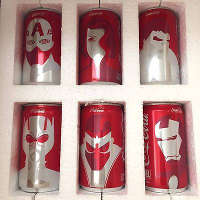Marvel Mini Coca Cola Coke Cans 6 Pack Complete Set Limited Edition Avengers