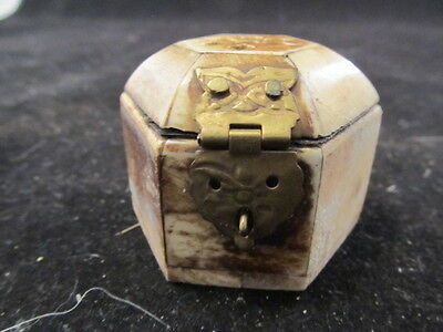 Vtg Carved Bone Pill Trinket or Snuff Box 6 Sided w/ Brass Hinge and Lock Plate