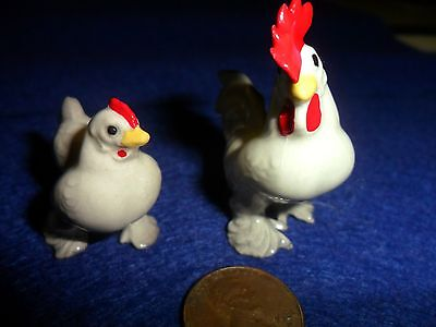 VINTAGE Hagen-Renaker Feathered Feet Rooster and Hen