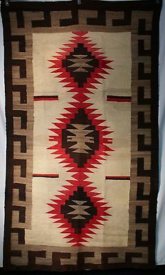 """1930's Navajo Crystal Rug Red, Brown & Gray Stacked Serrated Diamonds 84"""" x 50"""""""