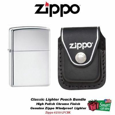 Zippo High Polish Chrome Lighter and Black Leather Clip Pouch #250-LPCBK