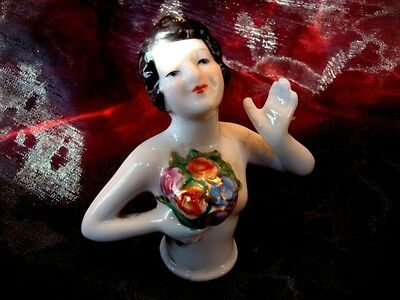 Teepuppen Mata Hari Sexy Blumen Half Doll Pincushion Arms Away Art Deco Stil Art