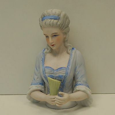 Half doll Figurine Marchioness Half Doll Pincushion Arms Away French Style Porce